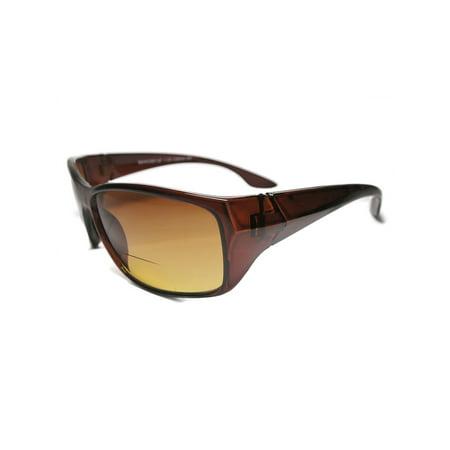 European Design Sun Readers Bi Focal Vision Reading Sunglasses Tinted Lens Brown (Prescription Glasses With Tinted Lenses)
