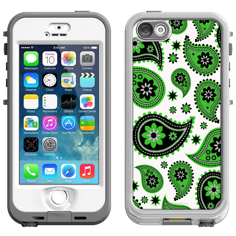 SKIN DECAL FOR LifeProof Nuud Apple iPhone SE Case - Paisleys Cute Green on White DECAL, NOT A CASE