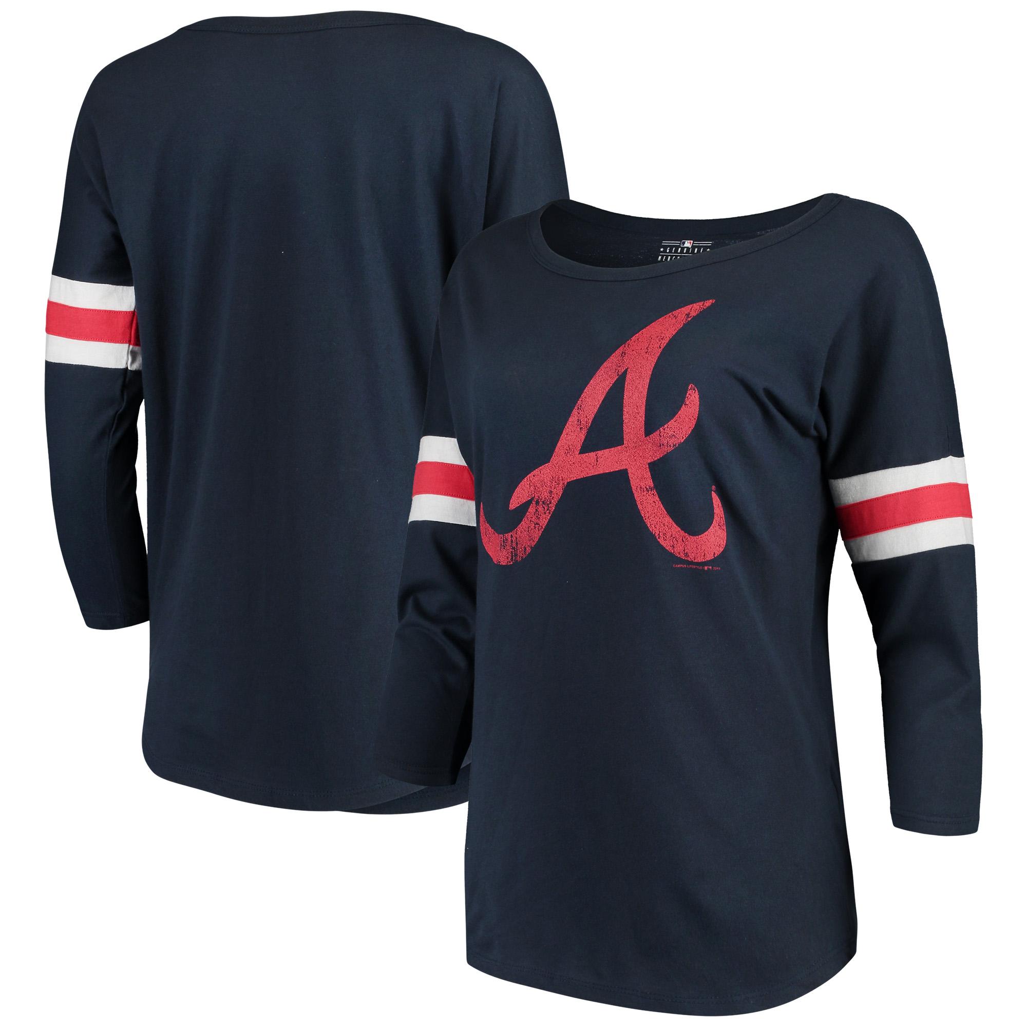 Women's New Era Navy Atlanta Braves Scoop Neck 3/4-Sleeve T-Shirt