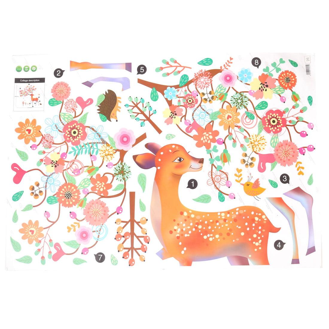 Room PVC Deer Pattern Self-adhesive Window Film Wall Sticker Decal Multicolor - image 1 of 3