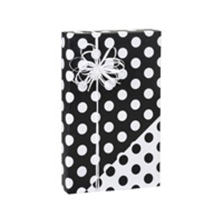Reversible Double-Sided Black and White Polka Dot Birthday / Special Occasion Gift Wrap Wrapping Paper-16ft