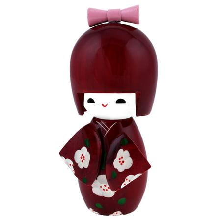 White Plum Plossom Detail Claret Wood Japanese Folk Craft Kokeshi Doll - image 1 of 1