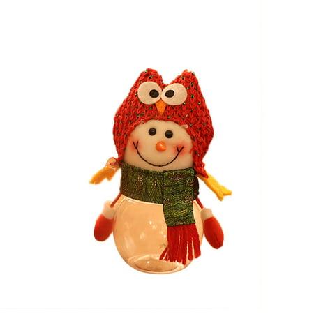 Merry Christmas Children Santa Claus Snowman Elk Candy Packaging Candy Jar Bin