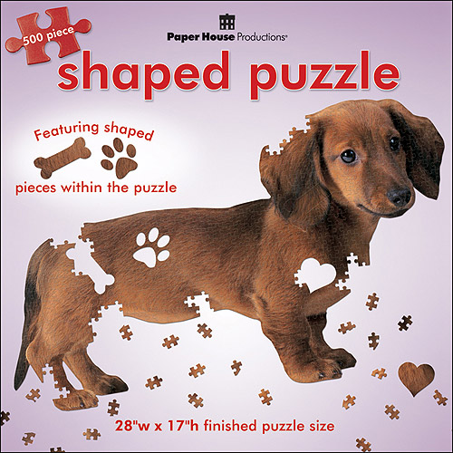 "Jigsaw Shaped Puzzle 500 Pieces 28""X17""-Dachshund"