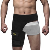 Yosoo Groin Support - Adjustable Neoprene Groin Strain Pain Wrap Compression Recovery Thigh Wrap Provide Pulled Groin Quad Hamstring Hip Injury Support for Men and Women,Black
