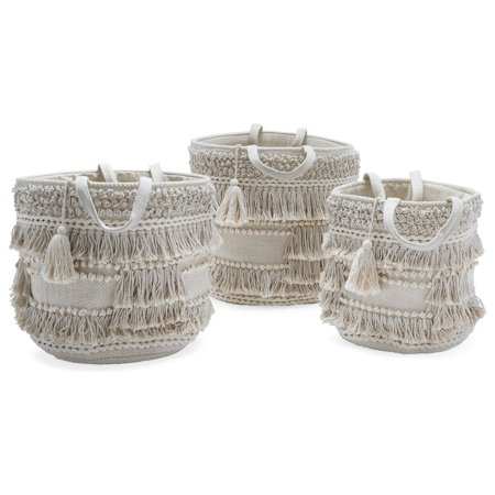 Hand Woven Macrame 3 Piece Basket Set, Natural by Drew Barrymore Flower Home (Cute Baskets For Gifts)