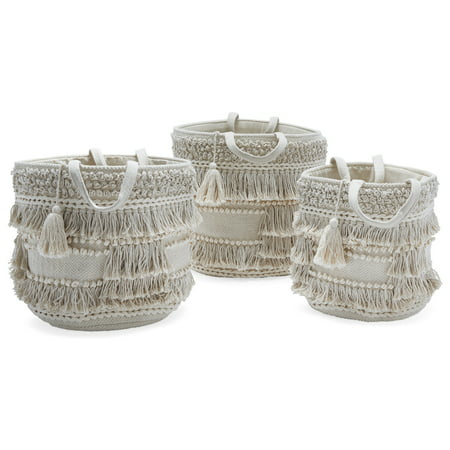 Hand Woven Macrame 3 Piece Basket Set, Natural by Drew Barrymore Flower Home - Hand Painted Porcelain Basket