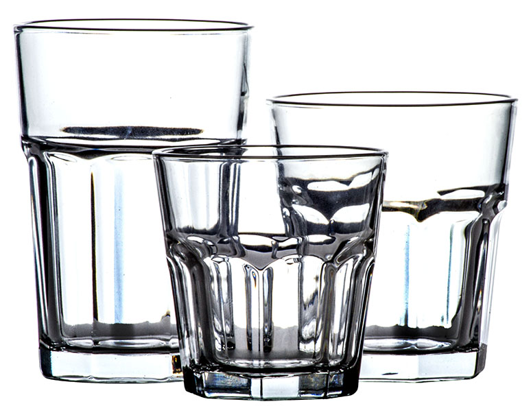 18 PC CLASSIC GLASSWARE SETS � MULTI SIZE GLASS CUP SET TUMBLER GLASS by