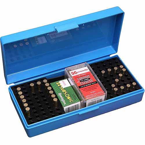 MTM 22/17 RIFLE CARTRIDGE BOX POLY BLUE W/HANDLE