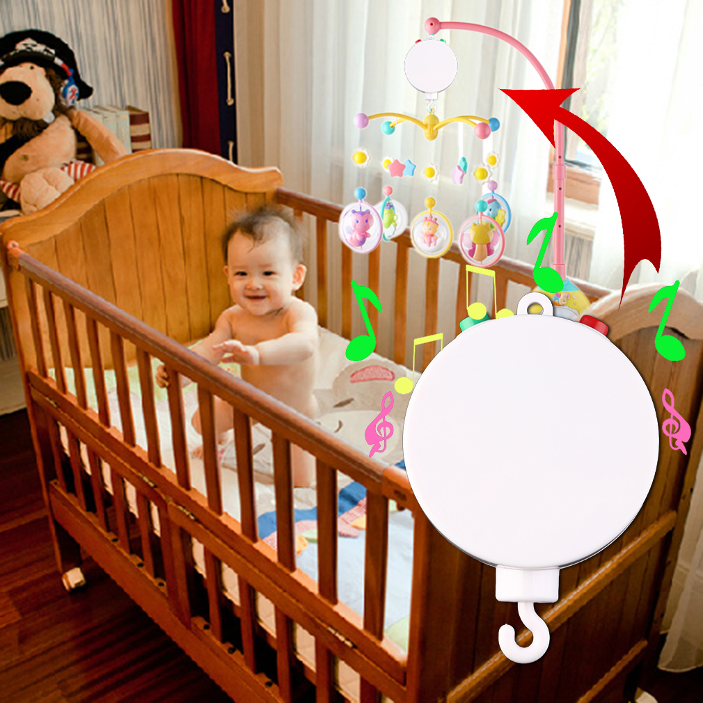 New Baby Crib Mobile Bed Bell Toy Holder Arm Bracket with Wind-up Music Box