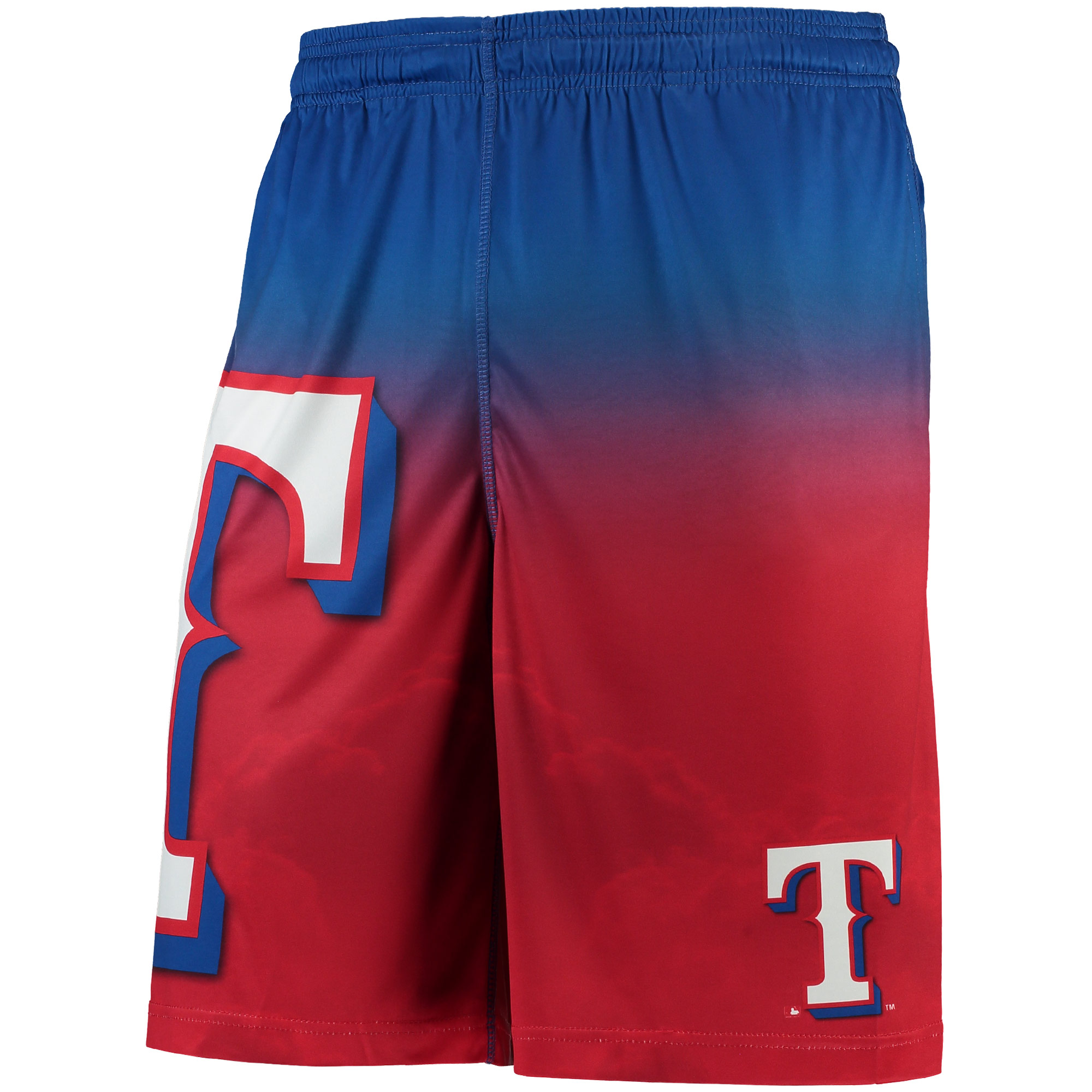 Texas Rangers Gradient Big Logo Training Shorts - Red/Royal