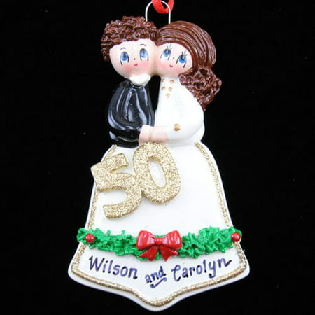 50th Anniversary Bell Couple Personalized Christmas Ornament DO-IT-YOURSELF (50th Anniversary Ornament)