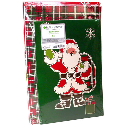Holiday Time 10-Pack Christmas Gift Boxes, Traditional Santa