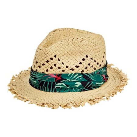 Children's San Diego Hat Company Frayed Edge Fedora with Tropical Band PBK6531 Natural L - Tropical Hat