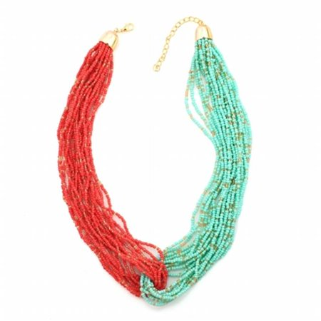 Eshopo 0805470012443 Gold Tone Metal Turquoise And Coral Seed Bead Necklace