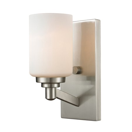 Wall Sconces 1 Light With Brushed Nickel Finish Steel Medium Base Bulb 5 inch 100 Watts Brushed Steel Five Light