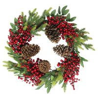 Northlight Artificial Pine Cone Berry and Pine Sprig Unlit Christmas Wreath