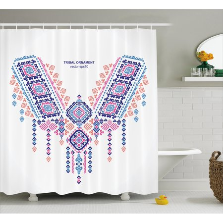 Tribal Decor Shower Curtain Ethnic African Geometric Design Aztec Style Bohemian Festive Print Fabric