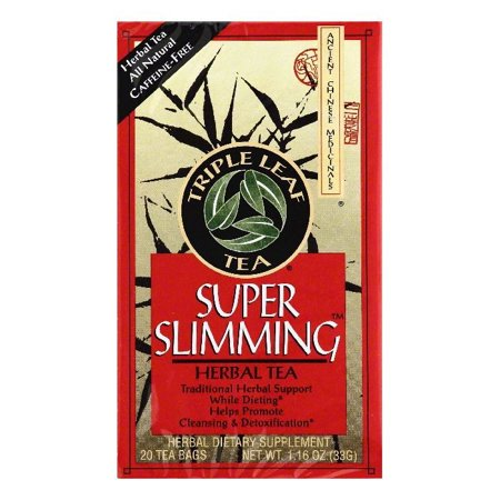 Triple Leaf Tea Bags Caffeine-Free Super Slimming Herbal Tea, 20 ea (Pack of 6) Chinese Herbal Slimming Tea