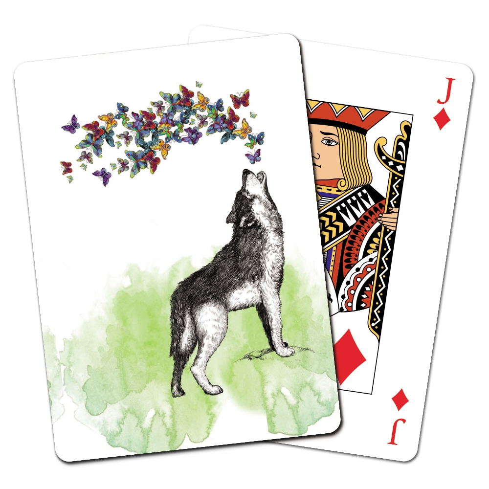 Tree-Free Greetings Boho Wolf Playing Cards -CD15452