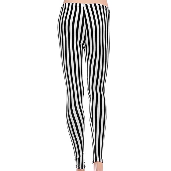 c45b47fe1ebde BASILICA - Women's Soft Black White Horizontal Striped Leggings w/ Back  Pockets - Walmart.com