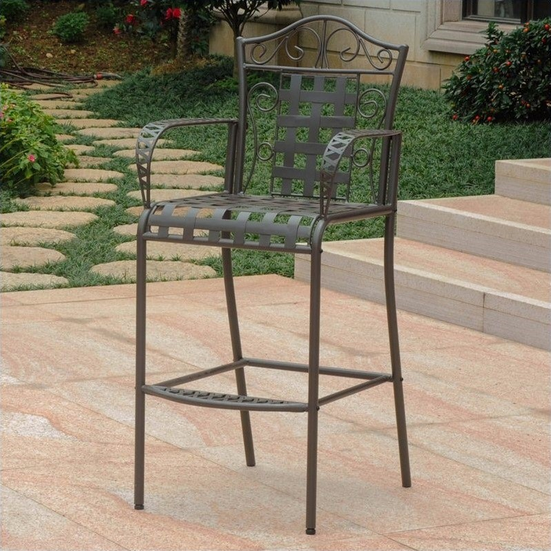 Pemberly Row Patio Bar Stool in Brown (Set of 2)