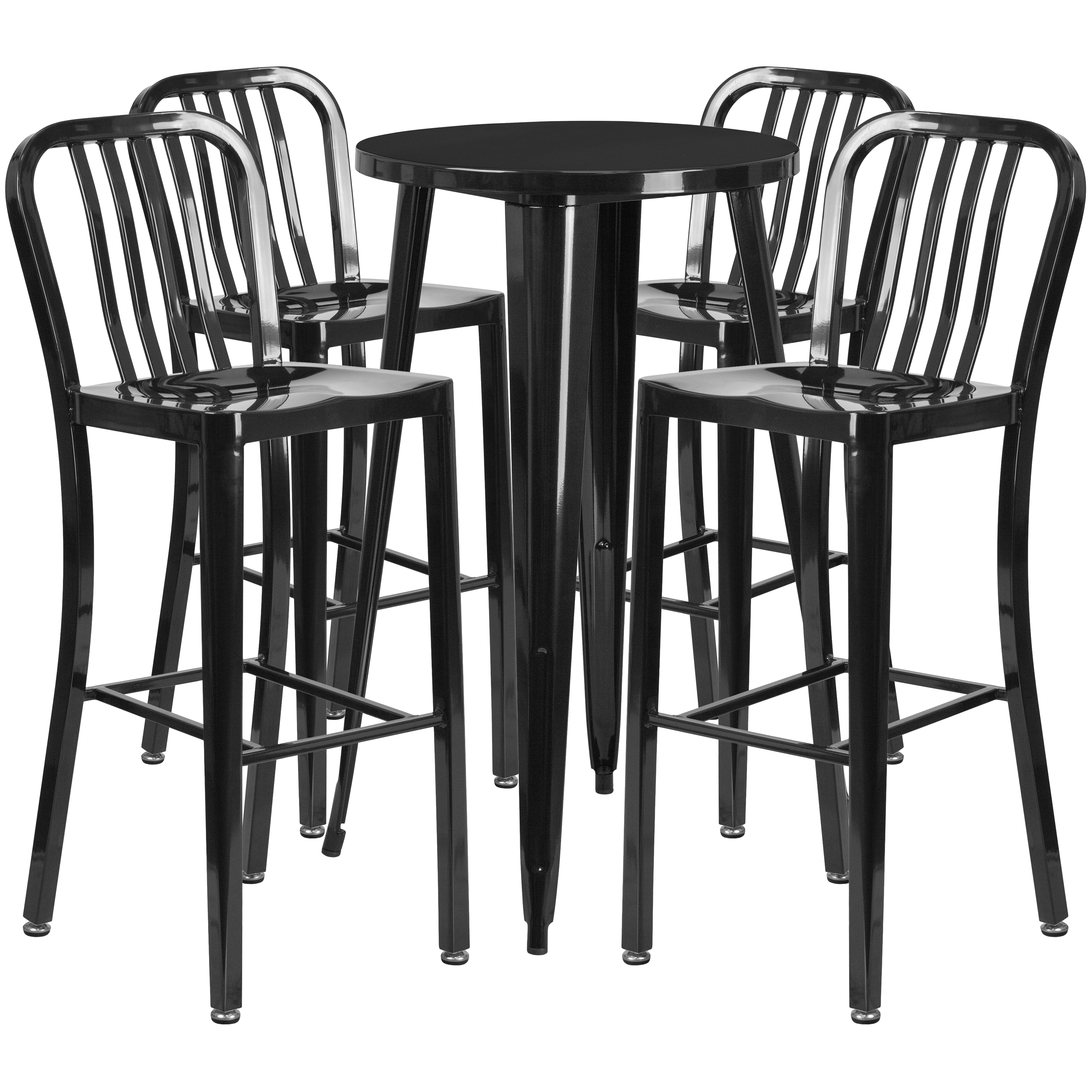"""Flash Furniture 24"""" Round Metal Indoor-Outdoor Bar Table Set with 4 Vertical Slat Back Barstools, Multiple Colors"""