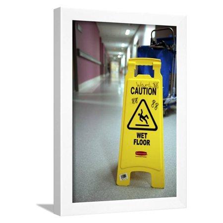 Slip Hazard Warning Sign Framed Print Wall Art By Lth Nhs (Electrical Hazard Slip)