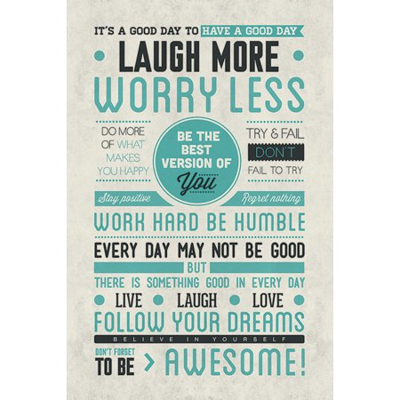 Motivational Poster (Don't Forget To Be Awesome - Motivational Poster (Famous Life Quotes: Live Laugh Love…) (Size: 24