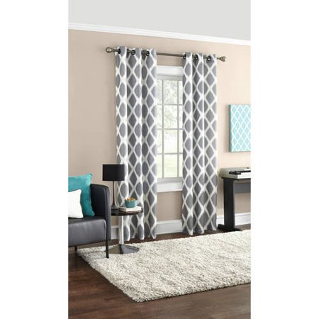 Mainstays Geometric Textured Grommet Top Window Curtain Panel, Multiple Sizes and Colors Available ()