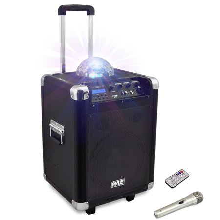 Disco Jam Portable BT PA Speaker System with LED Party Lights, Built-in Battery, Cordless Headset, Handheld and Lavaliere Microphones, AM/FM Radio, 10