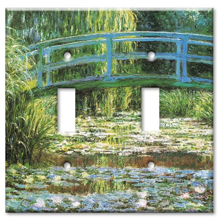 Art Plates brand - Double Gang Toggle Wall Plate - Monet: Japanese Footbridge