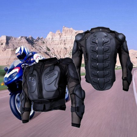 Motorcycle Armored Jacket - Motorcycle Full Body Armor Jacket Protector Spine Chest Protection Gear Clothing Motocross Motorbike Riding Protection Jacket Black S/M/L/XL/XXL/XXXL