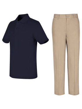 REAL SCHOOL Boys Uniform Outfit Polo Shirt and Pants Value Bundle