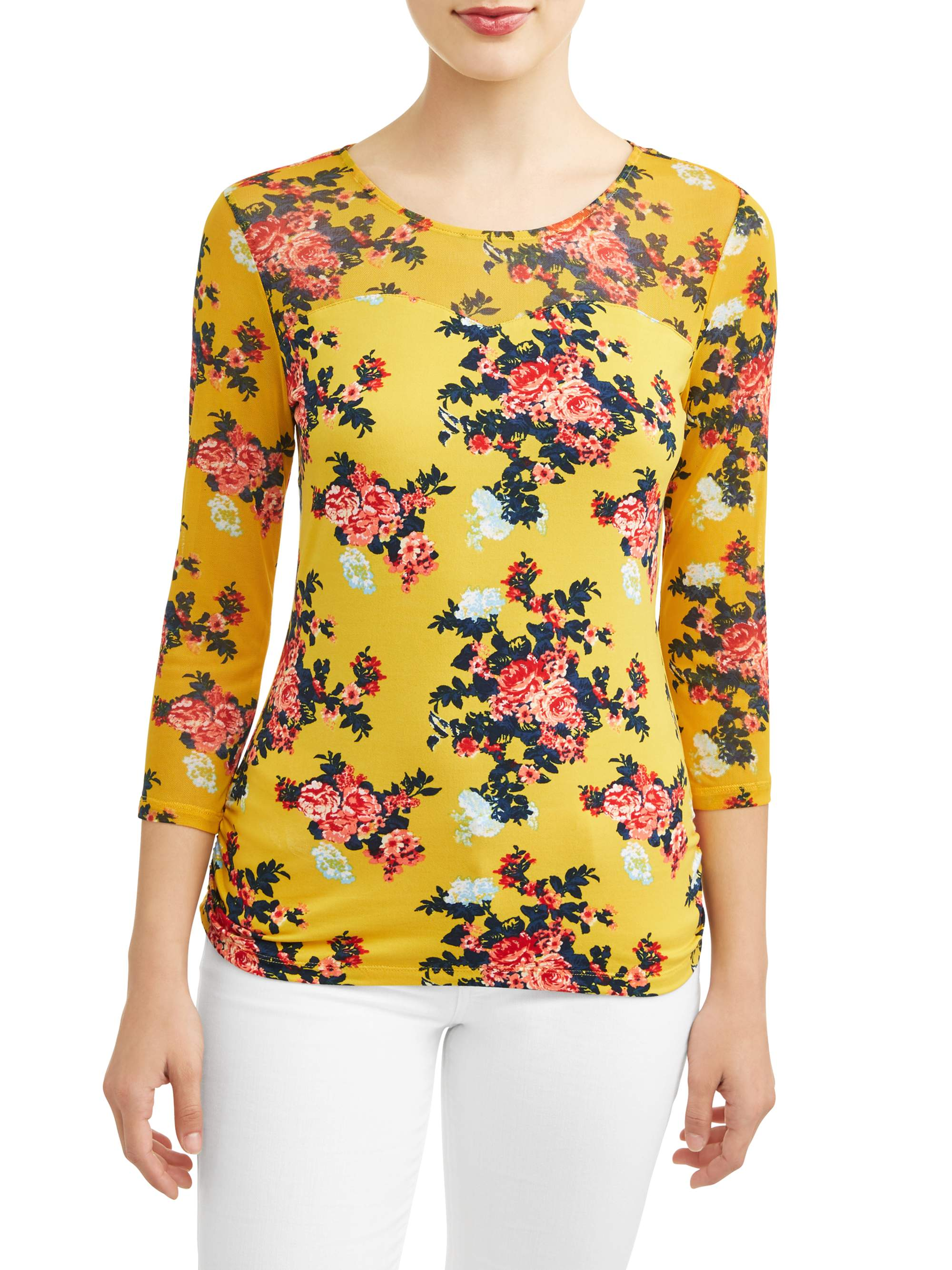 "Juniors' Floral Printed Criss Cross Caged Back 3/4"" Sleeve T-Shirt"