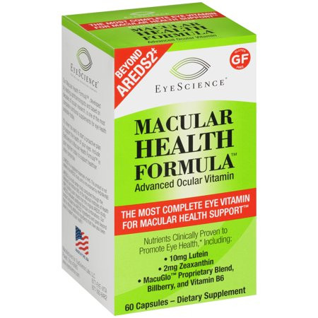 EyeScience Macular Health Formula - Advanced Ocular Vitamin Dietary Supplement Capsules 60 ct Box