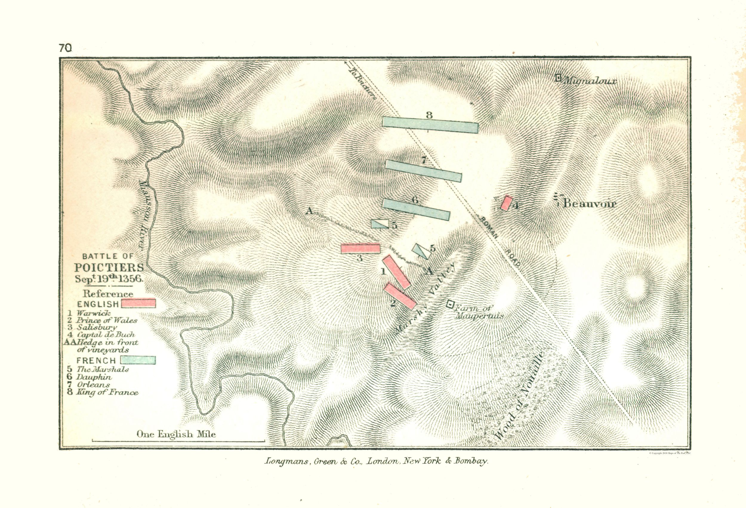 Old France Map Battle Of Poitiers In 1356 Gardiner 1902 33 78