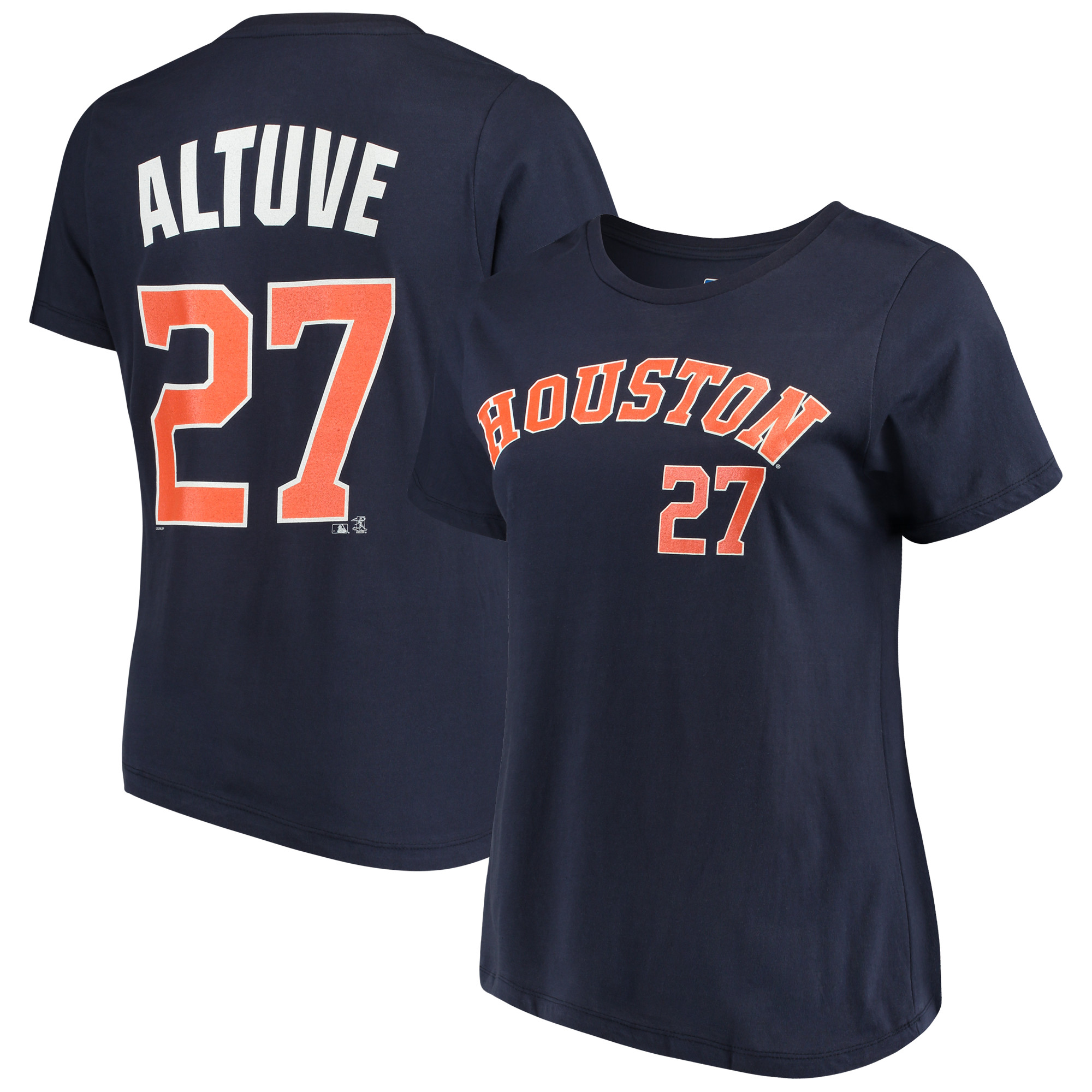 huge selection of 59f9f e59a7 Women's Majestic Jose Altuve Navy Houston Astros Name & Number T-Shirt