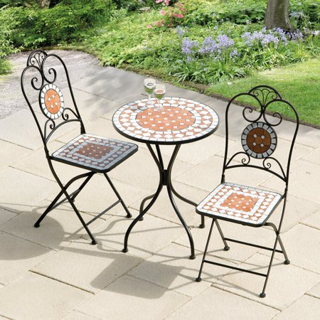 Diamond 60cm Mosaic Cast Iron Bistro Set- (1 table with 2 chairs)