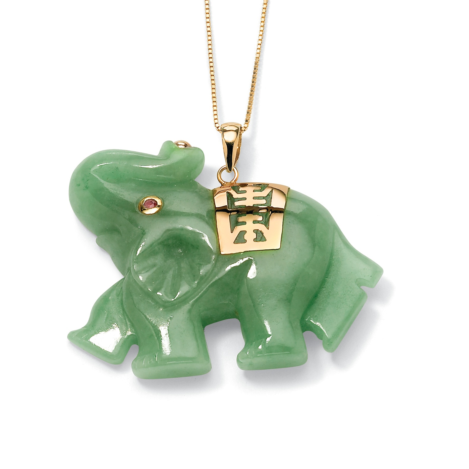 Green Jade Pink Genuine Sapphire Accent 14k Yellow Gold Lucky Elephant Charm Pendant by PalmBeach Jewelry