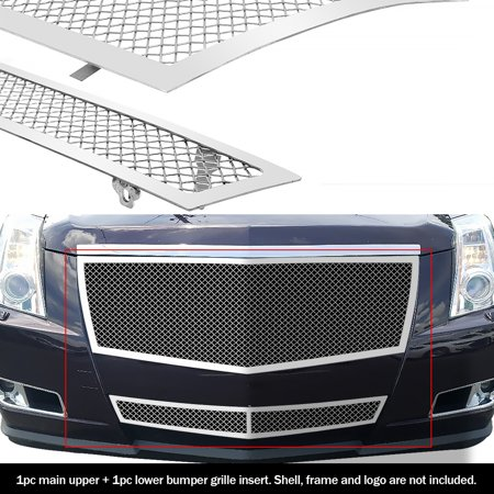 Compatible with 2008-2013 Cadillac CTS Stainless Steel Mesh Grille Grill Insert Combo A77768T