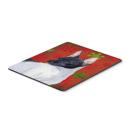 Rat Terrier Red and Green Snowflakes Christmas Mouse Pad, Hot Pad or Trivet