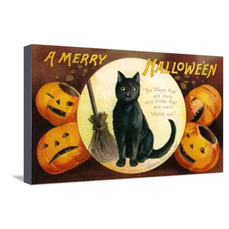 Halloween Greetings with Black Cat and Carved Pumpkins, 1909 Stretched Canvas Print Wall Art By Ellen Hattie - Black Cat Halloween Pumpkin Carving