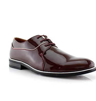 New Men's Patent Leather Formal Lace Up Round Toe Dress Shoes, Wine, 8.5