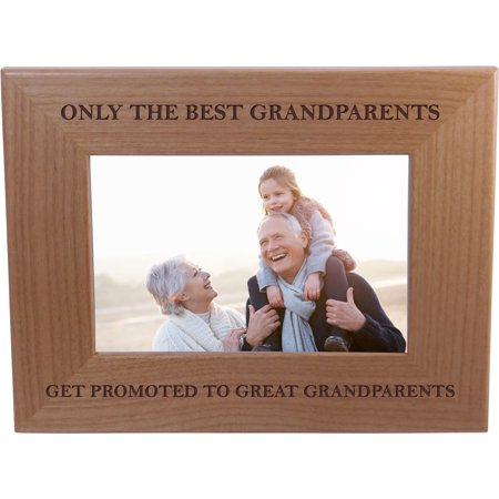 Only The Best Grandparents Get Promoted To Great Grandparents - Wood Picture Frame Holds 4x6 Inch Photo - Great Christmas, Father's Day, Mother's Day Gift For Parents ()