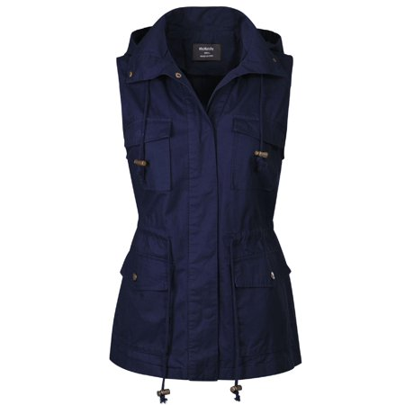 Made by Olivia Women's Drawstring Lightweight Loose Fit Sleeveless Vest Utility Jacket Navy