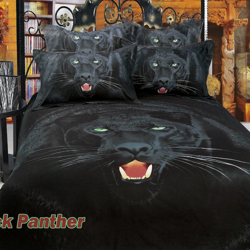 Dolce Mela Black Panther Egyptian Cotton 6 Piece Duvet Cover Set
