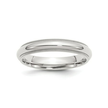 Ladies or Mens Comfort Fit 4mm Milgrain Wedding Band in Sterling Silver