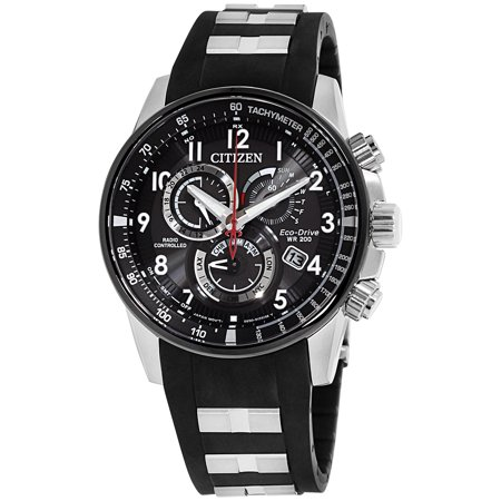 Mens Polyurethane Strap (Citizen Black Dial Stainless Steel & Polyurethane Strap Men's Watch AT4138-05E )
