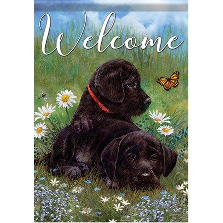 "Puppy Love Black Lab Garden Flag Dog Labrador Retriever Welcome Flower 12.5""x18"""